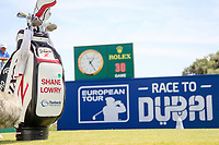Shane Lowry (IRL) bag on the 1st during the 1st round of the 2017 Portugal Masters, Dom Pedro Victoria Golf Course, Vilamoura, Portugal. 21/09/2017<br /> Picture: Fran Caffrey / Golffile<br /> <br /> All photo usage must carry mandatory copyright credit (&copy; Golffile | Fran Caffrey)