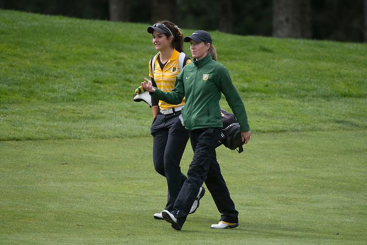 April 15, 2014; Bremerton, WA, USA; San Francisco Dons golfer Clare Sorensen (left) and women's golf head coach Sarah Glynn (right) during the WCC Golf Championships at Gold Mountain Golf Club.
