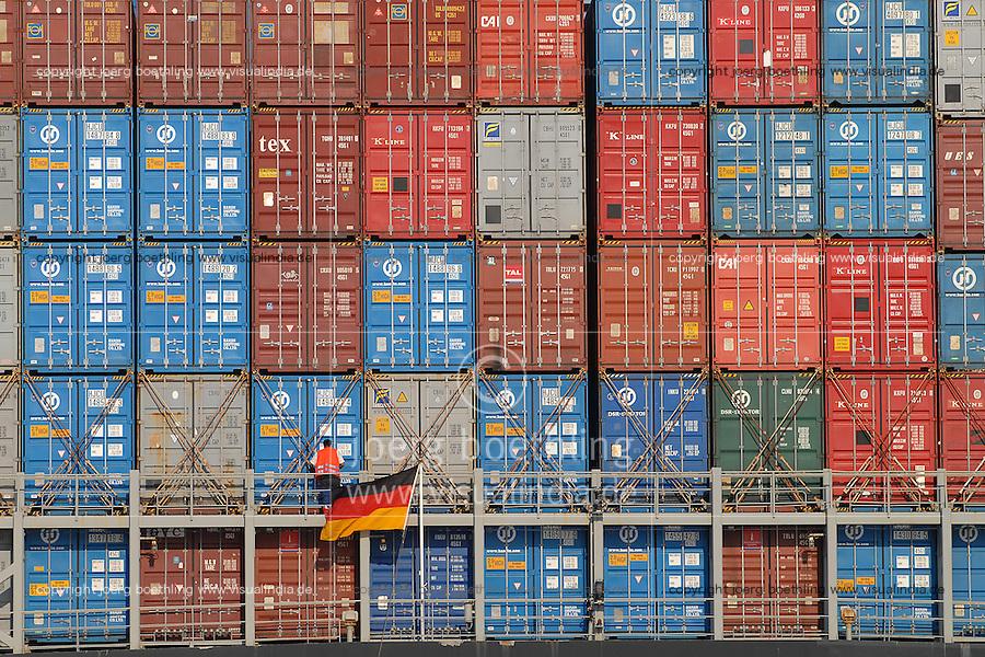 GERMANY Hamburg, container vessel of chinese shipping company Hanjin at container terminal Eurogate in Hamburg port / DEUTSCHLAND Hamburg, Hanjin Madrid Containerschiff der chinesischen Reederei Hanjin am Containerterminal Eurogate im Hamburger Hafen