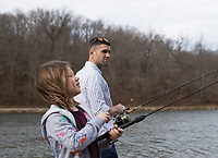 NWA Democrat-Gazette/CHARLIE KAIJO Alivia Steeves, 8 and David Steeves of Centerton (from left) fish, Sunday, January 6, 2019 at Lake Atalanta in Rogers.