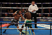 2nd February 2019 The O2 Arena, London, England; Boxing, European Super-Welterweight Championship, Sergio Garcia versus Ted Cheeseman; In an undercard fight as Felix Cash performs a left hook on Rasheed Abolaji