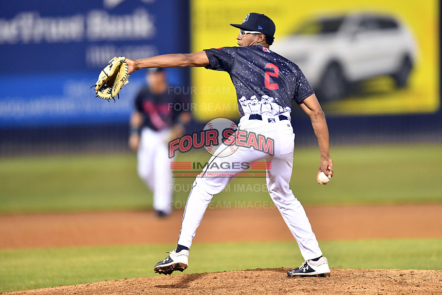 Asheville Tourists pitcher Derrik Schmidt (2) delivers a pitch during a game against the Delmarva Shorebirds at McCormick Field on May 4, 2019 in Asheville, North Carolina. The Shorebirds defeated the Tourists 4-0. (Tony Farlow/Four Seam Images)