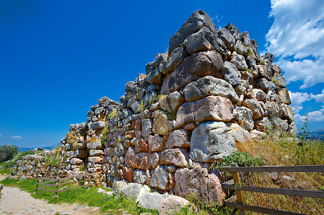 """Gigantic"" stone wall & gate to Tiryns (  or ) Mycenaean city archaeological site,  Peloponnesos, Greece. A UNESCO World Heritage Site"