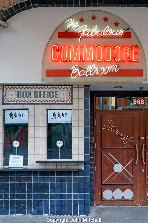 Entrance to the Commodore Ballroom on Granville Street in downtown Vancouver, British Columbia, Canada