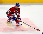 22 November 2008: Montreal Canadiens' right wing forward Alexei Kovalev from Russia in action against the Boston Bruins during the first period at the Bell Centre in Montreal, Quebec, Canada.  After a 2-2 regulation tie and a non-scoring 5-minute overtime period, the Boston Bruins scored the lone shootout goal thus defeating the Canadiens 3-2. The Canadiens, celebrating their 100th season, honored former Montreal goaltender Patrick Roy, and retired his jersey (Number 33) during pre-game ceremonies. ***** Editorial Use Only *****..Mandatory Photo Credit: Ed Wolfstein Photo *** Editorial Sales through Icon Sports Media *** www.iconsportsmedia.com