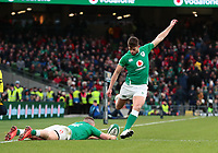 8th February 2020; Aviva Stadium, Dublin, Leinster, Ireland; International Six Nations Rugby, Ireland versus Wales; Ross Byrne (Ireland) attempts to convert the try but misses his kick