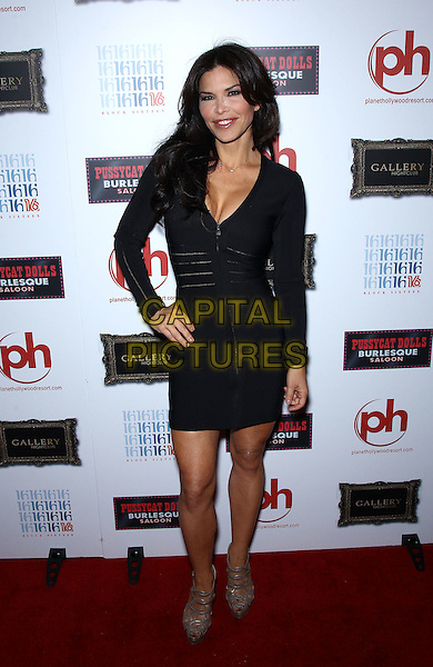 "Lauren Sanchez.""Good Day LA"" anchor, Lauren Sanchez, performs at Pussycat Dolls Burlesque Saloon inside Gallery Nightclub at Planet Hollywood Resort and Casino, Las Vegas, Nevada, USA..May 19th, 2012.full length dress black cleavage hand on hip.CAP/ADM/MJT.© MJT/AdMedia/Capital Pictures."