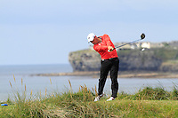 Cian Daly (Castletroy) on the 12th tee during Round 3 of The South of Ireland in Lahinch Golf Club on Monday 28th July 2014.<br /> Picture:  Thos Caffrey / www.golffile.ie