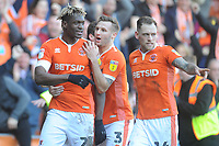 Blackpool's Armand Gnanduillet (left) celebrates scoring his side's first goal with team-mate Nick Anderton<br /> <br /> Photographer Kevin Barnes/CameraSport<br /> <br /> The EFL Sky Bet League One - Blackpool v Southend United - Saturday 9th March 2019 - Bloomfield Road - Blackpool<br /> <br /> World Copyright © 2019 CameraSport. All rights reserved. 43 Linden Ave. Countesthorpe. Leicester. England. LE8 5PG - Tel: +44 (0) 116 277 4147 - admin@camerasport.com - www.camerasport.com