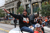 SAN FRANCISCO - OCTOBER 31:  Tim Flannery of the San Francisco Giants waves to the fans on Market Street during the World Series parade on October 31, 2012 in San Francisco, California. (Photo by Brad Mangin)