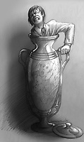 At one point we were supposed to see Horvath escape from the urn where he was trapped with Balthazar. This was one version of that tight squeeze.