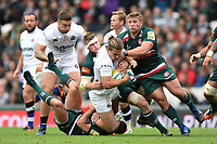 Max Clark of Bath Rugby is tackled to ground. Aviva Premiership match, between Leicester Tigers and Bath Rugby on September 3, 2017 at Welford Road in Leicester, England. Photo by: Patrick Khachfe / Onside Images