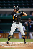Bradenton Marauders left fielder Casey Hughston (27) at bat during the second game of a doubleheader against the Lakeland Flying Tigers on April 11, 2018 at Publix Field at Joker Marchant Stadium in Lakeland, Florida.  Bradenton defeated Lakeland 1-0.  (Mike Janes/Four Seam Images)