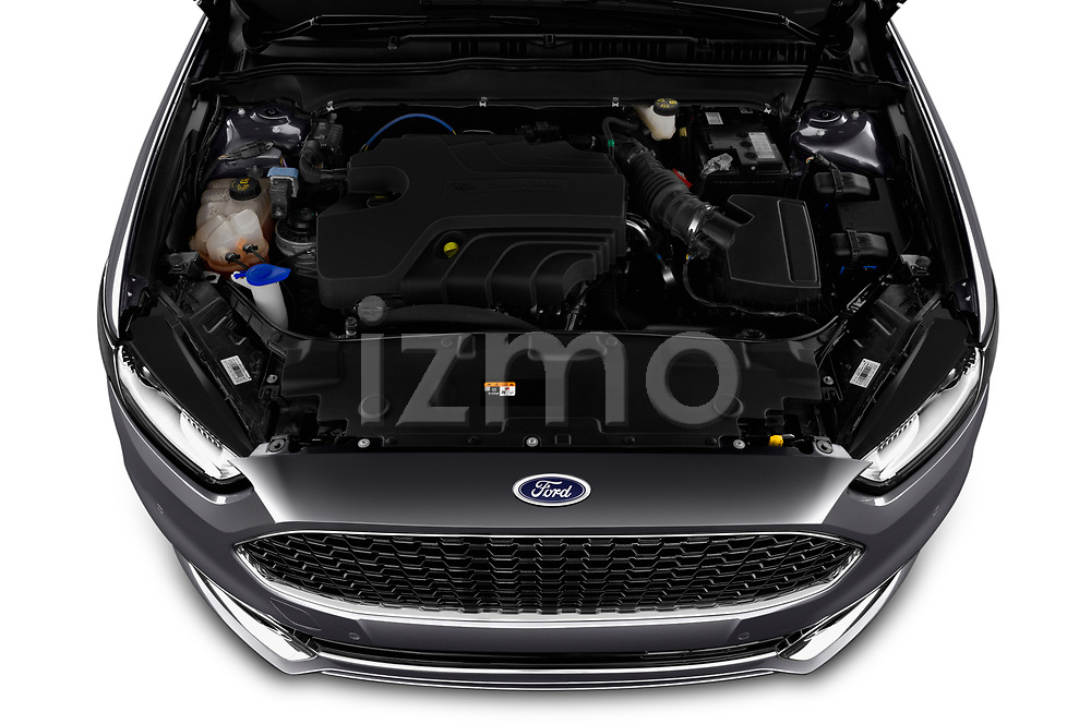 Car Stock 2019 Ford Mondeo Vignale 4 Door Sedan Engine  high angle detail view