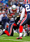 28 December 2008: New England Patriots' running back LaMont Jordan gains 8 yards in the second quarter against the Buffalo Bills at Ralph Wilson Stadium in Orchard Park, NY. The Patriots kept their playoff hopes alive defeating the Bills 13-0 in their 16th win against Buffalo of their past 17 meetings. ***** Editorial Use Only ******..Mandatory Photo Credit: Ed Wolfstein Photo