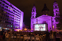 Peiple attend a free open-air movie screening during the  Budapest Classics Film Marathon in downtown Budapest, Hungary on Sept. 6, 2019. ATTILA VOLGYI