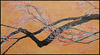 Mixed media encaustic photo painting of branch with blossoms.