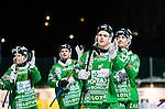 Stockholm 2015-01-16 Bandy Elitserien Hammarby IF - IFK Kung&auml;lv :  <br /> Hammarbys Adam Gilljam tackar publiken med lagkamrater efter matchen mellan Hammarby IF och IFK Kung&auml;lv <br /> (Foto: Kenta J&ouml;nsson) Nyckelord:  Elitserien Bandy Zinkensdamms IP Zinkensdamm Zinken Hammarby Bajen HIF IFK Kung&auml;lv jubel gl&auml;dje lycka glad happy