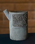 A ceramic vase with a jaguar glyph from the ruins of the Zapotec city of Atzompa in the Museo Comunitario Santa Maria Atzompa, Oaxaca, Mexico.