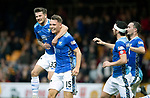 Motherwell v St Johnstone&hellip;20.10.18&hellip;   Fir Park    SPFL<br />Jason Kerr celebrates with Matty Kennedy, Joe Shaughnessy and Chris Kane after scoring the winning goal<br />Picture by Graeme Hart. <br />Copyright Perthshire Picture Agency<br />Tel: 01738 623350  Mobile: 07990 594431