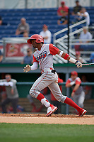 Williamsport Crosscutters Johan Rojas (13) bats during a NY-Penn League game against the Batavia Muckdogs on August 27, 2019 at Dwyer Stadium in Batavia, New York.  Williamsport defeated Batavia 11-4.  (Mike Janes/Four Seam Images)
