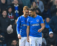 Tom Naylor of Portsmouth left congratulates  goalscorer Gareth Evans of Portsmouth during Portsmouth vs Rochdale, Sky Bet EFL League 1 Football at Fratton Park on 13th April 2019