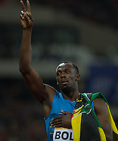 Usain BOLT of Jamaica (Men's 100m) celebrates his win during the Sainsburys Anniversary Games Athletics Event at the Olympic Park, London, England on 24 July 2015. Photo by Andy Rowland.