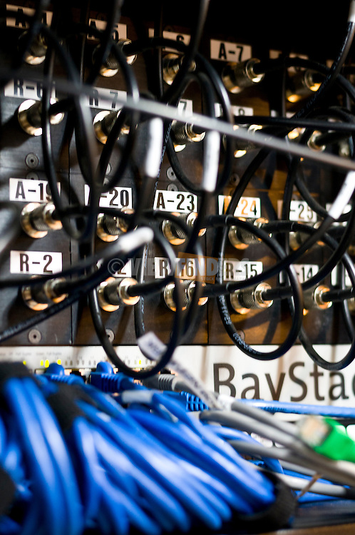 Close-up detail of communication relay cables.