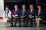 (L-R) <br /> Yuriko Koike, <br /> Toshiro Muto, <br /> Tsunekazu Takeda, <br /> Mitsunori Torihara, <br /> Tamayo Marukawa, <br /> JULY 24, 2017 : <br /> The countdown event Tokyo 2020 Flag Tour Festival and 3 Years to Go to the Tokyo 2020 Games, <br /> at Tokyo Metropolitan Buildings in Tokyo, Japan. <br /> (Photo by Naoki Nishimura/AFLO SPORT)