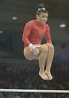 NWA Democrat-Gazette/ANDY SHUPE<br />Arkansas' Sophia Carter competes Friday, Jan. 12, 2018, in the bars portion of the 11th-ranked Razorbacks' meet with sixth-ranked Kentucky in Barnhill Arena in Fayetteville. Visit nwadg.com/photos to see more photographs from the meet.