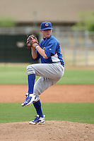 Hayden Simpson #32 of the Chicago Cubs pitches in a minor league spring training game against the Los Angeles Angels at the Angels minor league complex on April 2, 2011  in Tempe, Arizona. .Photo by:  Bill Mitchell/Four Seam Images.