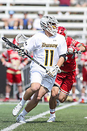 Towson, MD - March 25, 2017: Towson Tigers Cole Robertson (11) in action during game between Towson and Denver at  Minnegan Field at Johnny Unitas Stadium  in Towson, MD. March 25, 2017.  (Photo by Elliott Brown/Media Images International)