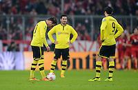 FUSSBALL  DFB-POKAL  VIERTELFINALE  SAISON 2012/2013    FC Bayern Muenchen - Borussia Dortmund          27.02.2013 Mario Goetze, Ilkay Guendogan und Robert Lewandowski (v.l., alle Borussia Dortmund) sind nach dem 1:0 enttaeuscht