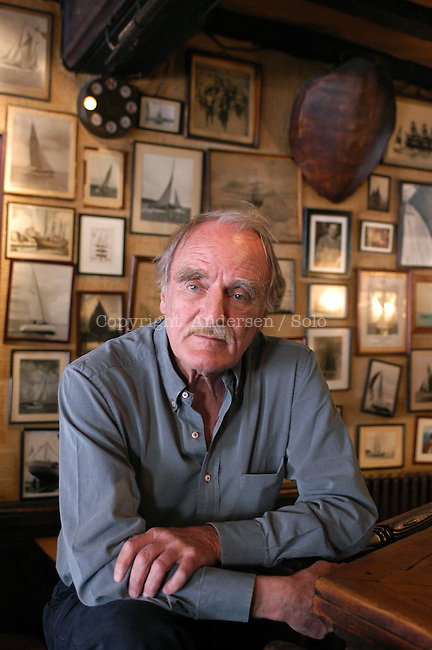 French author Jean Raspail at the Cafe de l'Univers in Saint Malo during book fair in 2003.