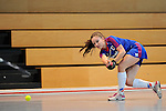 Mannheim, Germany, December 13: During the Verbandsliga Damen Hallensaison 2014/15 hockey match between Mannheimer HC 3 (blue) and HC Ludwigsburg 2 (wine red) on December 13, 2014 at Irma-Roechling-Halle in Mannheim, Germany. Final score 10-2 (7-1). (Photo by Dirk Markgraf / www.265-images.com) *** Local caption ***