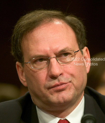 Washington, D.C. - January 12, 2006 -- Judge Samuel A. Alito shows some emotion during his testimony before the United States Senate Judiciary Committee on his nomination to be Associate Justice of the United States Supreme Court in Washington, D.C. on January 12, 2006..Credit: Ron Sachs / CNP