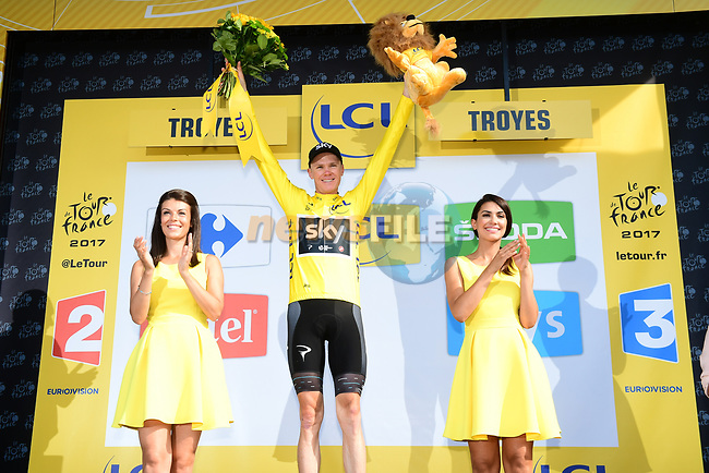 Race leader Christopher Froome (GBR) Team Sky retains the Yellow Jersey at the end of Stage 6 of the 104th edition of the Tour de France 2017, running 216km from Vesoul to Troyes, France. 6th July 2017.<br /> Picture: ASO/Alex Broadway | Cyclefile<br /> <br /> <br /> All photos usage must carry mandatory copyright credit (&copy; Cyclefile | ASO/Alex Broadway)
