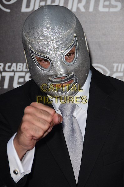El Hijo del Santo, Jorge Guzman Rodriguez .Time Warner Sports Celebrates Launch Of Time Warner Cable Sportsnet And Time Warner Cable Deportes Networks held at Beverly Hills Hotel, El Segundo, California, USA..October 1st, 2012.headshot portrait black suit mask mexican wrestler hand fist silver .CAP/ADM/TW.©Tonya Wise/AdMedia/Capital Pictures.