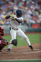 Michigan Wolverines second baseman Ako Thomas (4) at bat during Game 1 of the NCAA College World Series against the Texas Tech Red Raiders on June 15, 2019 at TD Ameritrade Park in Omaha, Nebraska. Michigan defeated Texas Tech 5-3. (Andrew Woolley/Four Seam Images)