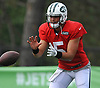Christian Hackenberg #5, quarterback, takes a snap during New York Jets Training Camp at Atlantic Health Jets Training Center in Florham Park, NJ on Tuesday, Aug. 1, 2017.