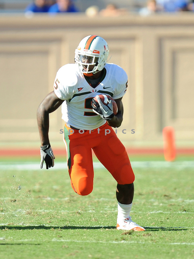 MIKE JAMES, of the Miami Hurricanes, in action during the Miami Hurricanes game against the Duke Blue Devils at Wallace Wade Stadium on October 16, 2010  in Durham, NC..Miami Hurricanes 28 Duke University 13.