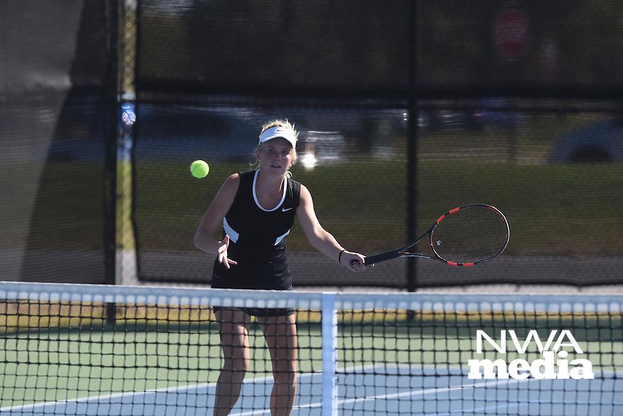 NWA Democrat-Gazette/J.T. WAMPLER 7A State Tennis Tournament in Bentonville Tuesday Oct. 20, 2015.
