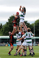 Sam Dickinson of Ealing Trailfinders wins the ball at a lineout. Pre-season friendly match, between Ealing Trailfinders and the Dragons on August 11, 2018 at the Trailfinders Sports Ground in London, England. Photo by: Patrick Khachfe / Onside Images