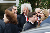 "Pictured: Brian May of The Queen attends the service at Aberavon Beach Hotel in Port Talbot, Wales, UK. Monday 08 October 218<br /> Re: A grieving father will mourners on horseback at the funeral of his ""wonderful"" son who killed himself after being bullied at school.<br /> Talented young horse rider Bradley John, 14, was found hanged in the school toilets by his younger sister Danielle.<br /> Their father, farmer Byron John, 53, asked the local riding community to wear their smart hunting gear at Bradley's funeral.<br /> Police are investigating Bradley's death at the 500-pupils St John Lloyd Roman Catholic school in Llanelli, South Wales.<br /> Bradley's family claim he had been bullied for two years after being diagnosed with Attention Deficit Hyperactivity Disorder.<br /> He went missing during lessons and was found in the toilet cubicle by his sister Danielle, 12."
