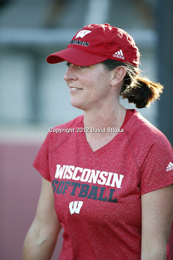 Wisconsin Badgers Head Coach Yvette Healy looks on during an NCAA women's softball game against the Green Bay Phoenix Saturday, September 29, 2012 in Madison, Wis. (Photo by David Stluka)