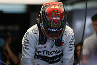 30th November 2019; Yas Marina Circuit, Abu Dhabi, United Arab Emirates; Formula 1 Abu Dhabi Grand Prix, qualifying day; Mercedes AMG Petronas Motorsport, Lewis Hamilton wears a special 2019 Champion helmet - Editorial Use