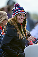 Brooks Koepka's (USA) girlfriend Jena Sims watches from a cart on 15 during round 3 Four-Ball of the 2017 President's Cup, Liberty National Golf Club, Jersey City, New Jersey, USA. 9/30/2017.<br /> Picture: Golffile | Ken Murray<br /> <br /> All photo usage must carry mandatory copyright credit (&copy; Golffile | Ken Murray)