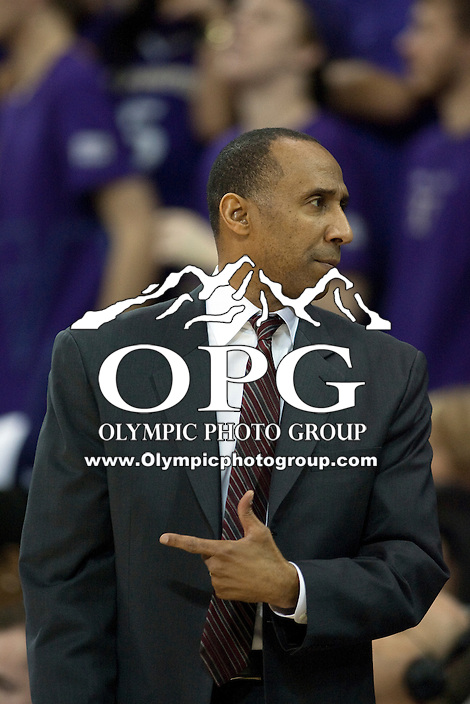 Jan 21, 2012:  Stanford head coach Johnny Dawkins against Washington.  Washington defeated Stanford 76-63 at Alaska Airlines Arena Seattle, Washington...