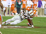 Charlotte, NC - December 2, 2017: Miami Hurricanes tight end Michael Irvin II (87) gets tackled during the ACC championship game between Miami and Clemson at Bank of America Stadium in Charlotte, NC. Clemson defeated Miami 38-3 for their third consecutive championship title. (Photo by Elliott Brown/Media Images International)