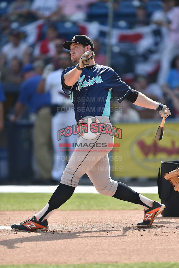 Delmarva Shorebirds outfielder Conor Bierfeldt (34) participates in the South Atlantic League All Star Game Home Run Derby on June 23, 2015 in Asheville, North Carolina. The North Division defeated the South 7-5(Tony Farlow/Four Seam Images)